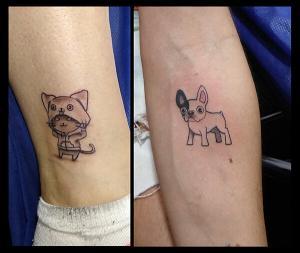 Tatuaje de perro y gato realizado en nuestro centro de Montera de Madrid