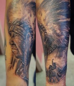 Tatuaje de cabeza de indio