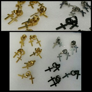 Pendientes para orejas en acero quirúrgico dorado, negro y plata