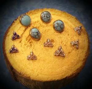 Nuevos pendientes para piercing microdermal en turquesas y diferentes formas..