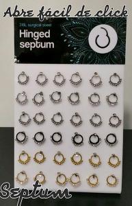 Pendientes para piercing septum fácil abre de click