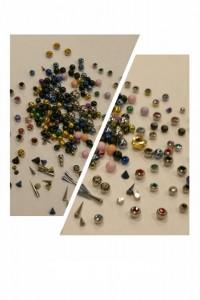 Piercing microdermal - Variedad en bolas titanio, zirconita, baño oro