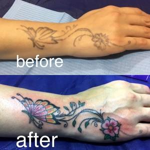 Tatuaje cover en brazo