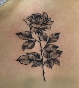 Tatuaje de rosa con espinas en monocromático