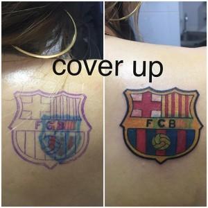 Tatuaje cover de escudo del Barça