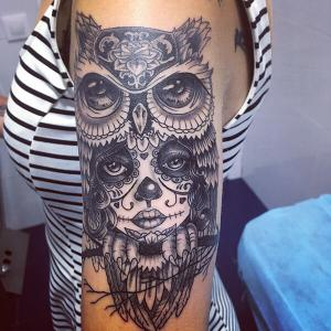 Tatuaje de catrina y buho