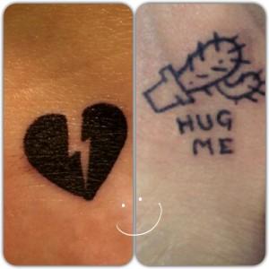 Tatuaje de corazón roto y cactus