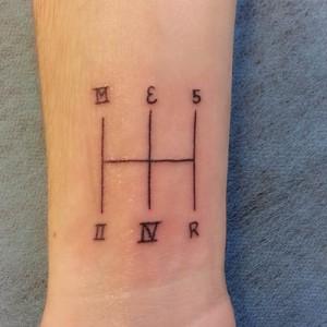 Tatuaje de letras y números romanos