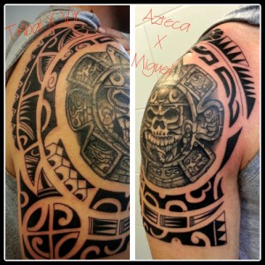 Tatuaje maorí con calavera