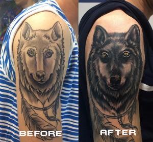 Tatuaje de arreglo de lobo