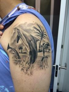 Tatuaje de delfines en brazo