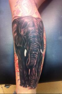 Tatuaje de elefante en pierna