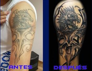 Arreglo de tatuaje en brazo