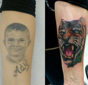 Tatuaje cover up de cabeza de tigre