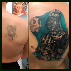 Tatuaje cover up de Darth Vader