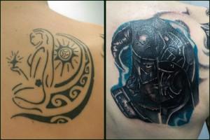 Tatuaje de cover up en el omoplato