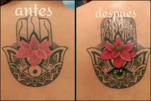 Tatuaje de cover up de mano india