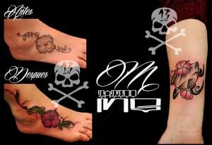 Tatuaje de flores en empeine de pie realizados por Miguel en nuestro centro de Parquesur - Madrid