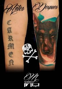 Tatuaje cover de cabeza de perro