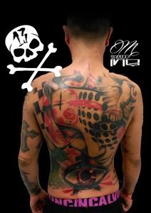 Tatuaje de cover realizado en la espalda