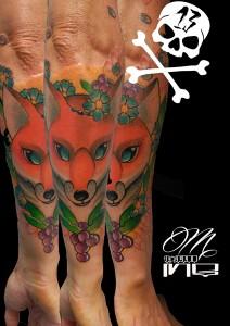 Tatuaje de zorro en brazo