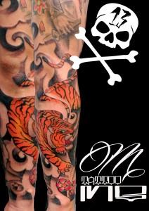 Tatuaje de tigre de bengala en brazo
