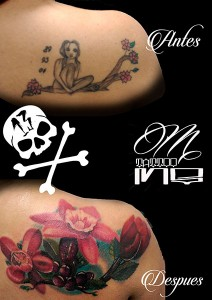 Tatuaje cover de flores rojas en espalda