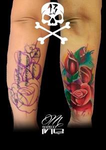 Tatuaje cover de rosas rojas