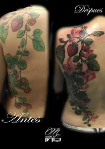 Tatuaje de árbol de fresas