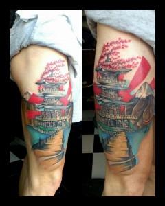 Tatuaje de pagoda china en colores
