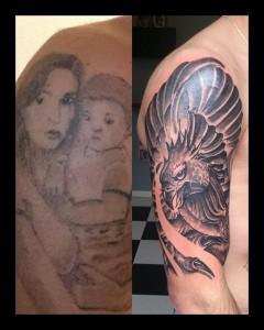 Tatuaje cover up de águila