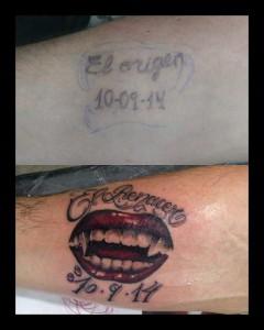 Tatuaje cover up boca de vampira