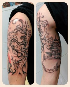 Tatuaje de pagoda china