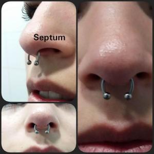 Piercing septum en acero realizado en nuestro centro de Vaguada de Madrid