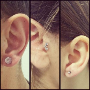 Piercing en lóbulo de la oreja