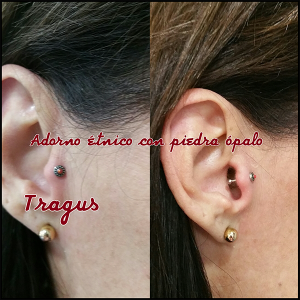 Piercing tragus con pendiente étnico