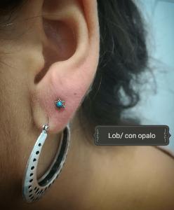 Piercing en lóbulo realizado en nuestro centro de Vaguada de Madrid