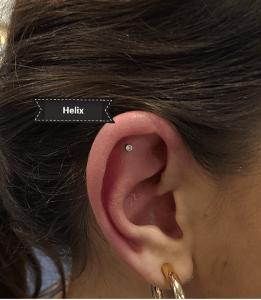 Piercing en helix realizado realizado en nuestro centro de Vaguada de Madrid