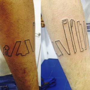 Tatuaje de silueta del skyline de Madrid