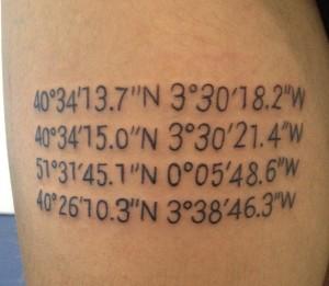 Tatuaje de coordenadas