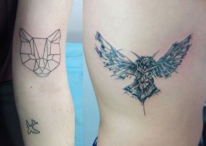 Tatuaje de buho y gato geométrico