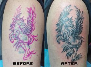 Tatuaje de Pegaso realizado en nuestro centro de Montera de Madrid