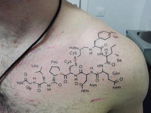 Tatuaje de fórmular química realizado en nuestro centro de Montera de Madrid