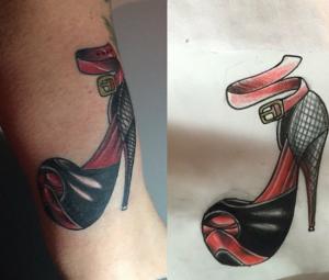 Tatuaje de zapato de tacón