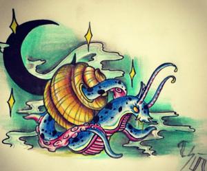 Boceto de tatuaje de dragón caracol
