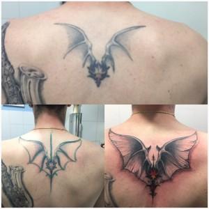 Tatuaje de murciélago en espalda