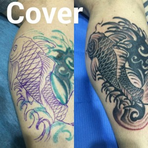 Tatuaje cover up de pez negro