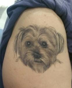 Tatuaje de retrato de perro en brazo