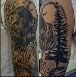Tatuaje de urraca y bosque