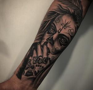 Tatuaje de catrina realizado en nuestro centro de Vaguada de Madrid